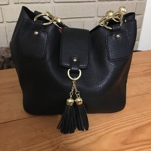 Handbags - Black leather w gold trim its 2 bags in one
